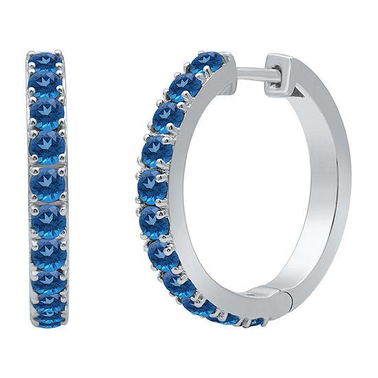 Marvel Universe Fine Jewelry By Marvel Genuine Blue Topaz Sterling Silver 4.7mm Marvel Hoop Earrings
