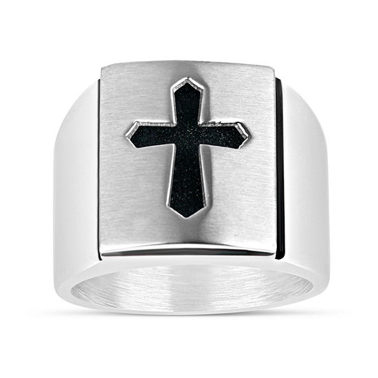Mens Stainless Steel Cross Fashion Ring