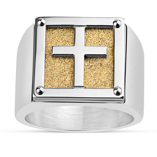 Mens Surgical Steel Cross Fashion Ring