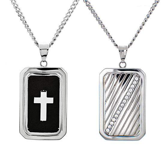 Mens 1/2 CT. T.W. White Cubic Zirconia Dog Tag Pendant Necklace