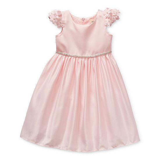 Btween Flower Girl Little Girls Embellished Short Sleeve Party Dress