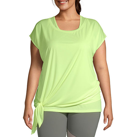 Xersion Womens Round Neck Short Sleeve Plus T-Shirt