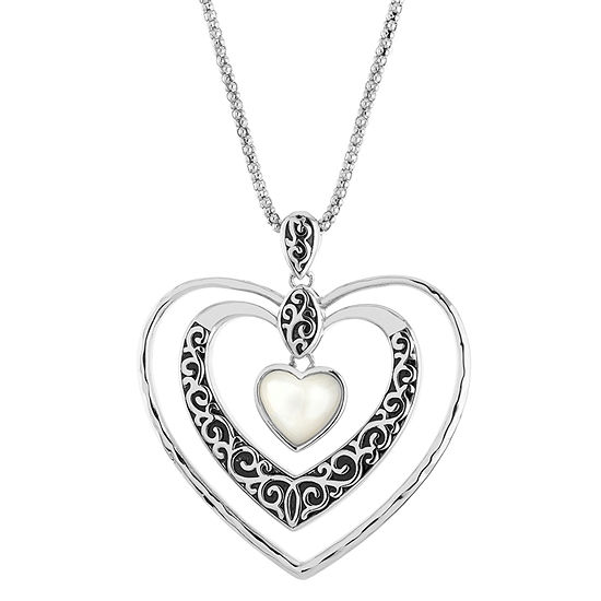 Womens Genuine White Mother Of Pearl Sterling Silver Heart Pendant Necklace