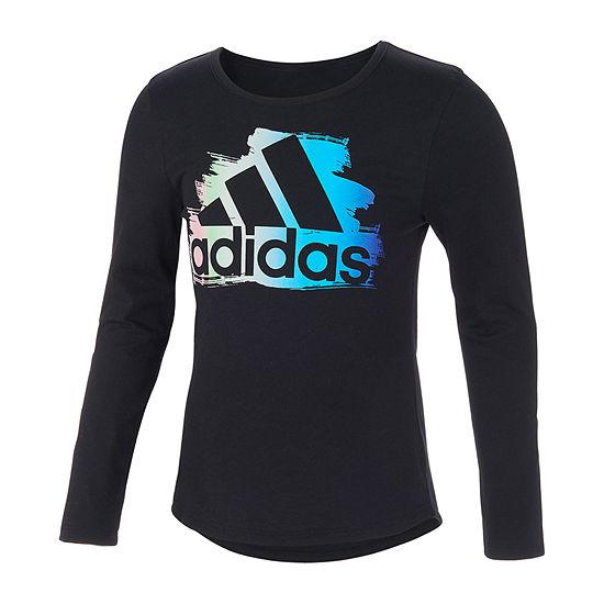 adidas Little Girls Scoop Neck Long Sleeve Graphic T-Shirt