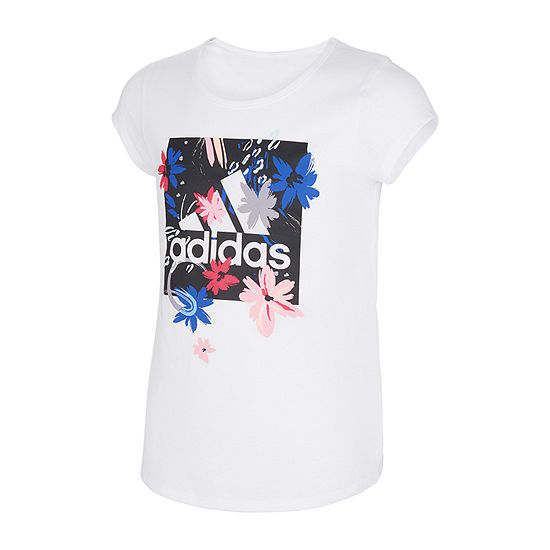 adidas Big Girls Embellished Scoop Neck Short Sleeve Graphic T-Shirt