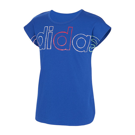 adidas Big Girls Embellished Scoop Neck Short Sleeve Graphic T-Shirt