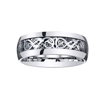 Mens Comfort-Fit Filigree Ring in Stainless Steel
