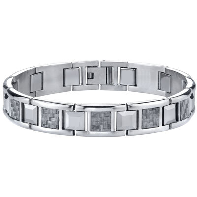 Men's Stainless Steel & Carbon Fiber Bracelet