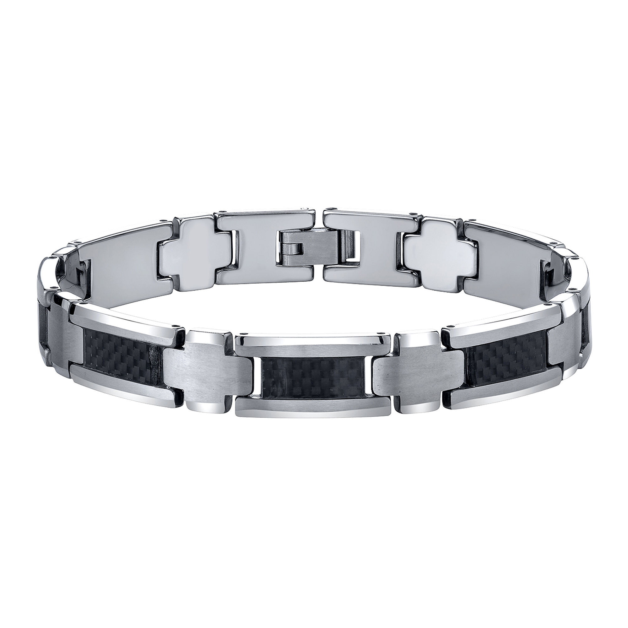 Mens Polished Tungsten & Carbon Fiber Bracelet