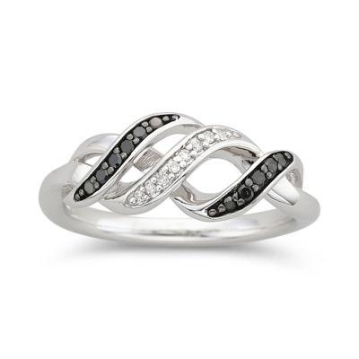 1/10 CT. T.W. White & Color-Enhanced Black Diamond Swirl Ring