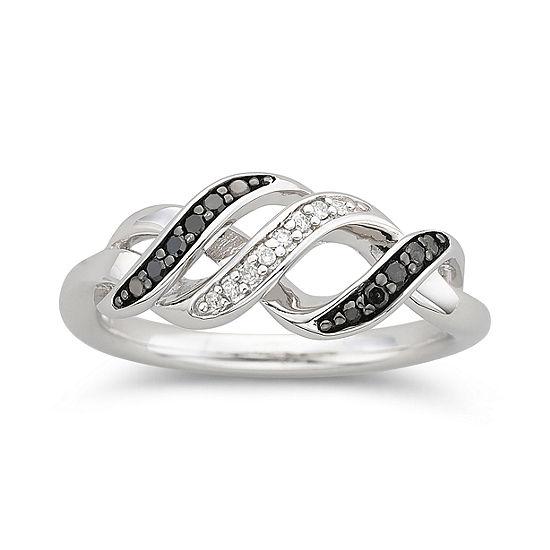 1 10 Ct Tw White Color Enhanced Black Diamond Swirl Ring