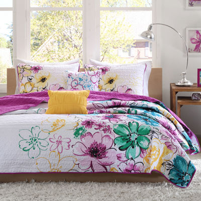 Intelligent Design Ashley Floral Quilt Set