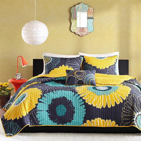 Mi Zone Iris Floral Quilt Set