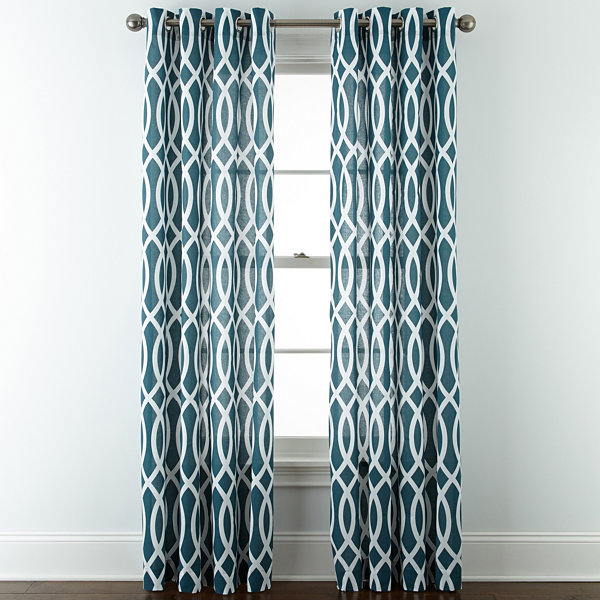JCPenney Home™ Cotton Classics Ogee Grommet-Top Curtain Panel ...