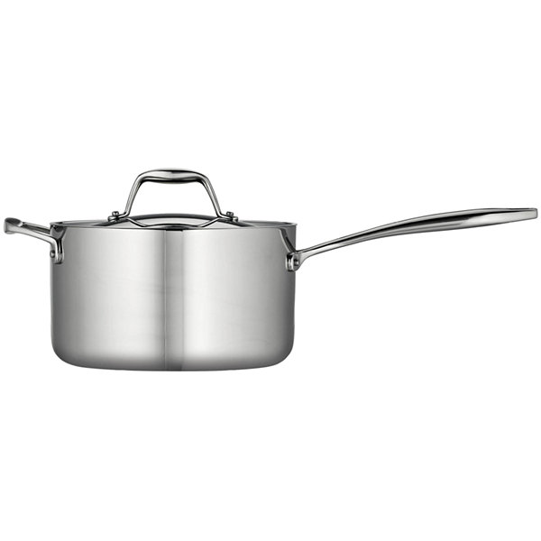Tramontina Gourmet 4-qt. Tri-Ply Clad 18/10 Stainless Steel Induction-Ready Saucepan with Helper Handle and Lid