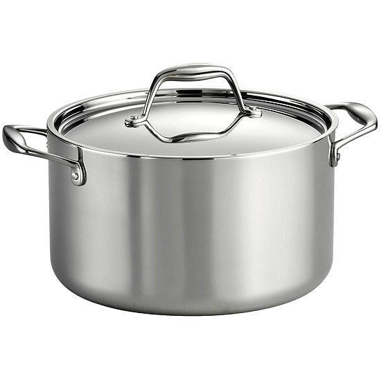 Tramontina Gourmet 8 Qt Tri Ply Clad 18 10 Stainless Steel Induction Ready Stock Pot With Lid