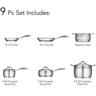 Tramontina Gourmet Domus 9-pc. 18/10 Stainless Steel Induction-Ready Cookware Set