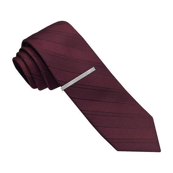 JF J.Ferrar Black Skinny Tie Striped Tie
