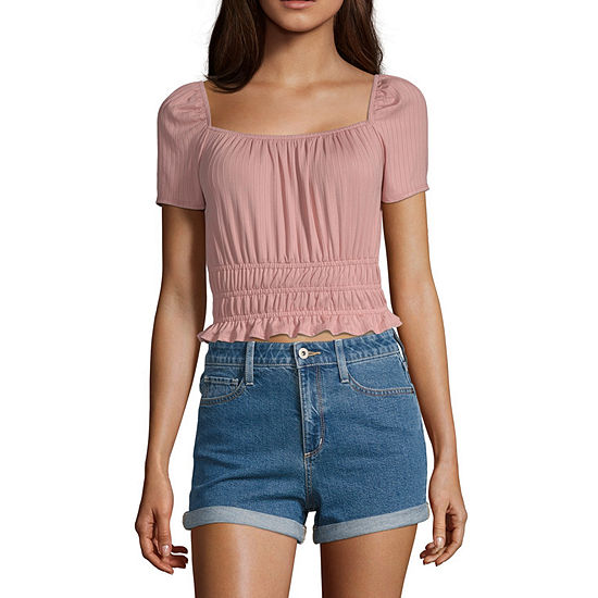 Society And Stitch Womens Square Neck Short Sleeve Blouse-Juniors