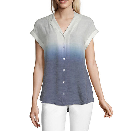 by&by Womens Short Sleeve Relaxed Fit Button-Front Shirt-Juniors