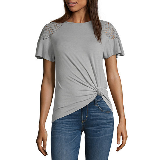 Rewind Womens Crew Neck Short Sleeve Blouse-Juniors