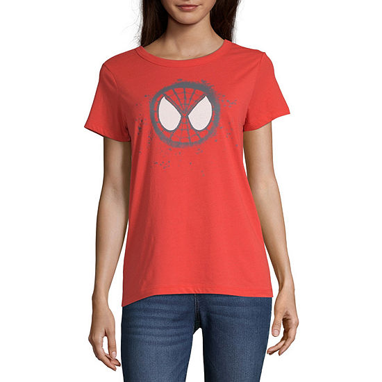 Mighty Fine-Juniors Womens Crew Neck Short Sleeve Spiderman Graphic T-Shirt