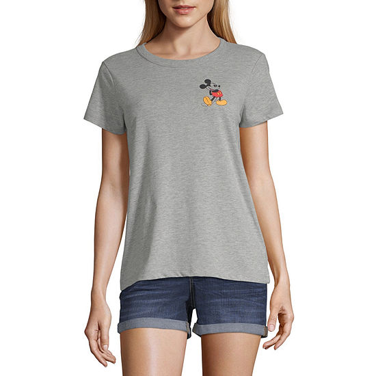 Mighty Fine Womens Crew Neck Short Sleeve Mickey Mouse Graphic T-Shirt-Juniors