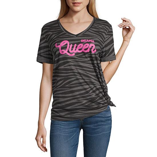 Juniors-Womens V Neck Short Sleeve T-Shirt