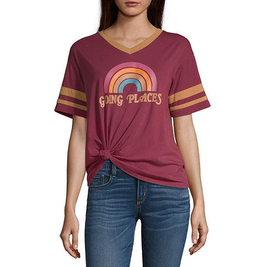 Juniors Womens V Neck Short Sleeve Graphic T-Shirt