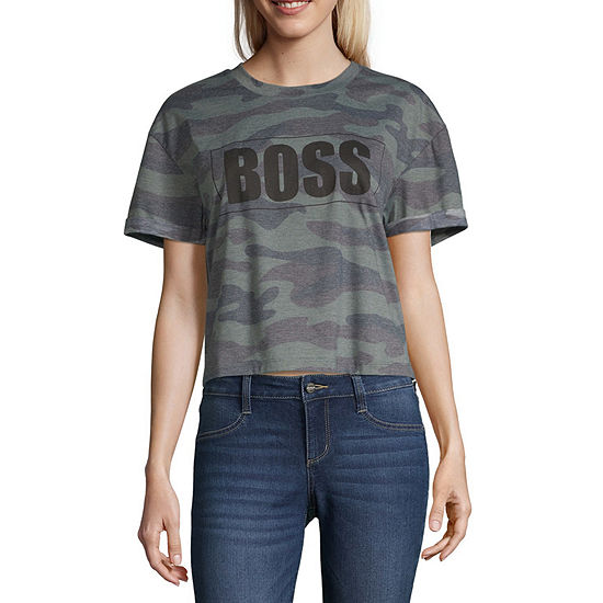 Cut And Paste Womens Crew Neck Short Sleeve Graphic T-Shirt-Juniors