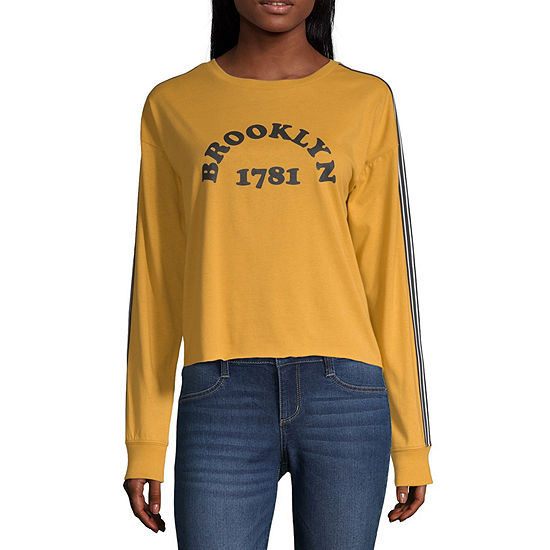 Cut And Paste-Womens Crew Neck Long Sleeve T-Shirt Juniors