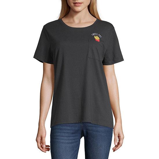Cut And Paste Womens Crew Neck Short Sleeve T Shirt Juniors