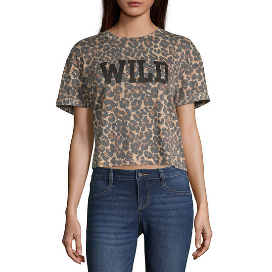 Cut And Paste Womens Crew Neck Short Sleeve Graphic T Shirt Juniors