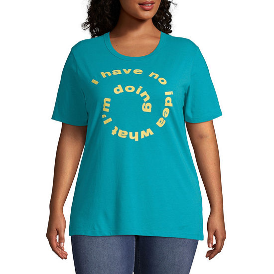 Mighty Fine Womens Crew Neck Short Sleeve Graphic T Shirt Juniors Plus