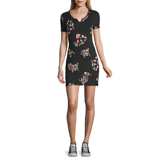 Arizona Short Sleeve Floral Bodycon Dress-Juniors