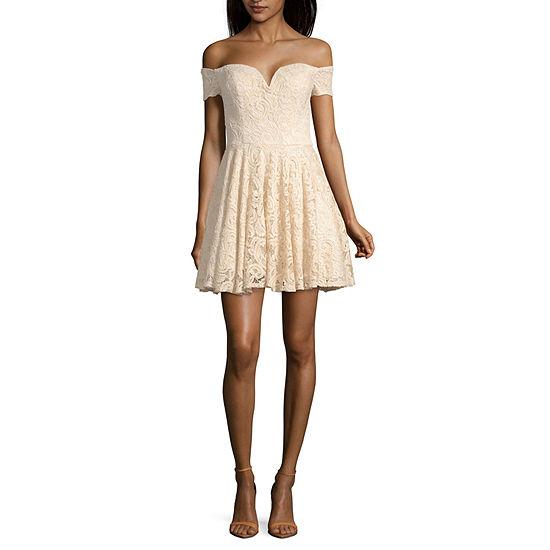 B. Smart Short Sleeve Fit & Flare Dress - Juniors