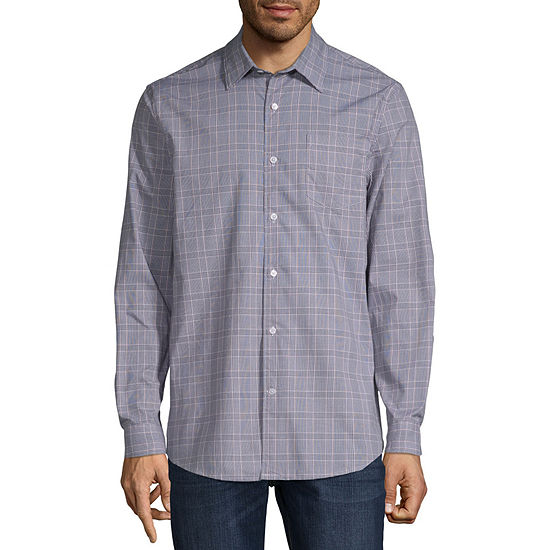 Claiborne Mens Long Sleeve Plaid Button-Front Shirt