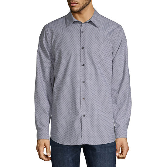 Claiborne Mens Long Sleeve Plaid Button-Down Shirt