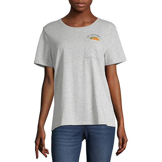 Cut And Paste-Womens Crew Neck Short Sleeve T-Shirt Juniors