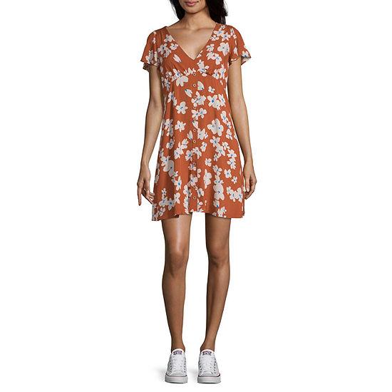 My Michelle Short Sleeve Skater Dress-Juniors