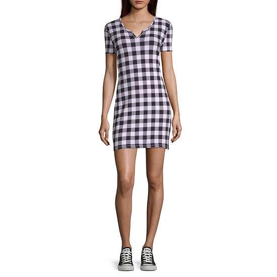 Arizona Short Sleeve Checked Bodycon Dress-Juniors