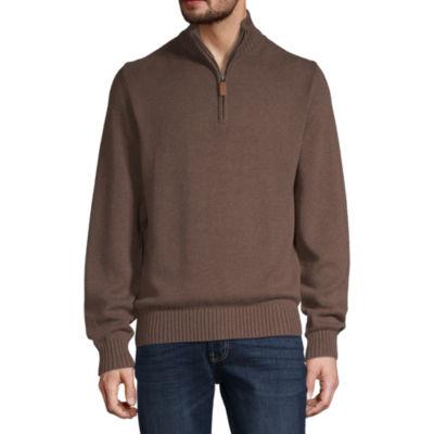St. John's Bay Quarter Zip Mock Neck Long Sleeve Pullover Sweater