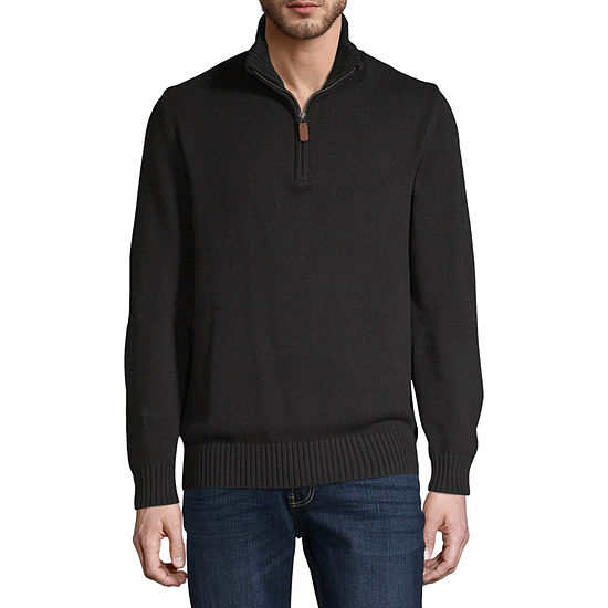 St. John's Bay Quarter Zip Mock Neck Long Sleeve Pullover Sweater