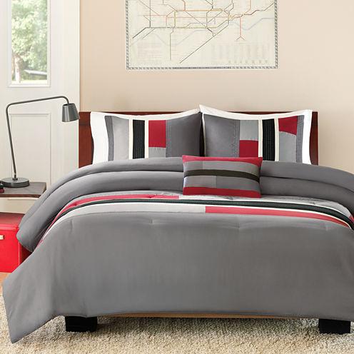 Intelligent Design Colton Color Block Comforter Set + BONUS Decorative Pillow