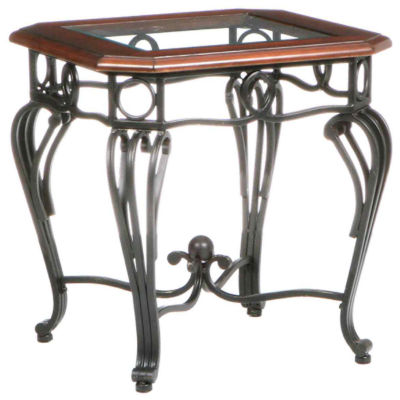 """Trellise Glass Top 23"""" Square End Table"""