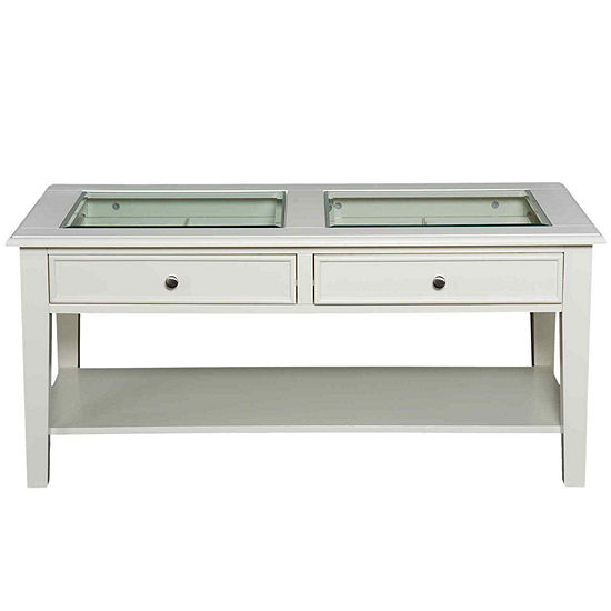 At Home Design 2-Drawer Glass Top Coffee Table