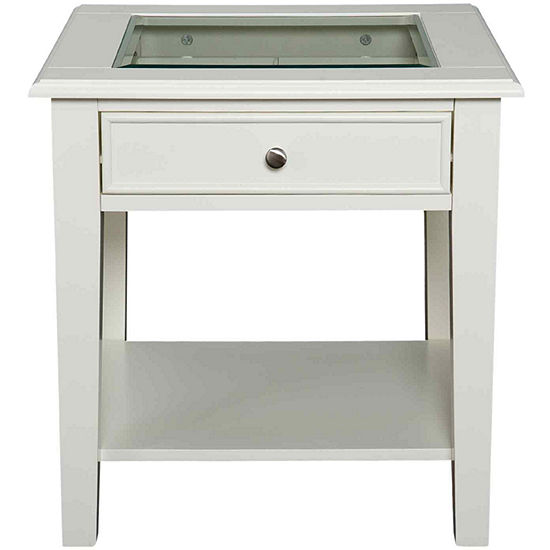 "At Home Design Glass Top Single-Drawer 22"" End Table"