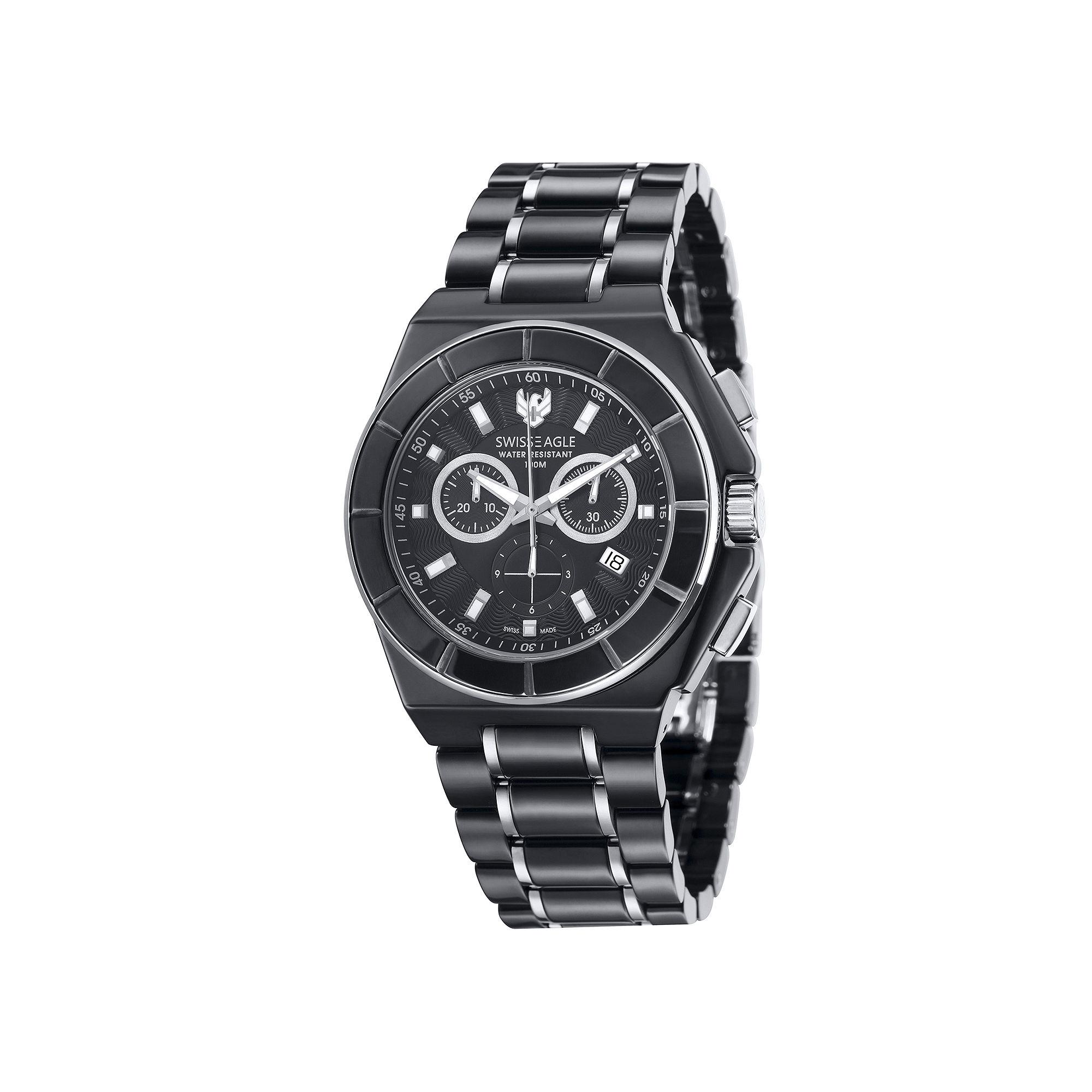 Swiss Eagle Polar King Mens Two-Tone Strap Chronograph Watch SE-9053-33