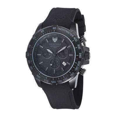 Swiss Eagle® Herzog Mens Black Bezel Black Silicone Strap Chronograph Watch SE-9065-06