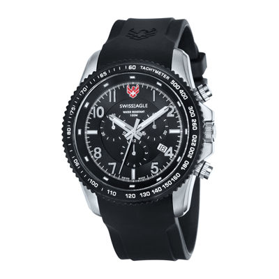Swiss Eagle® Landmaster Mens Black Dial Black Stainless Steel Chronograph Watch SE-9044-33